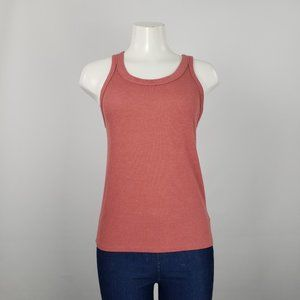 American Eagle Pink Ribbed Sleeveless Top Size L